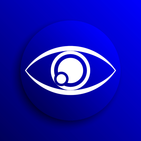 see a doctor: Eye icon. Internet button on blue background. Stock Photo