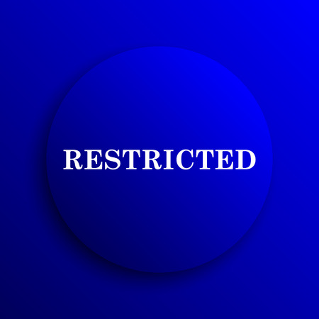 restricted icon: Restricted icon. Internet button on blue background.
