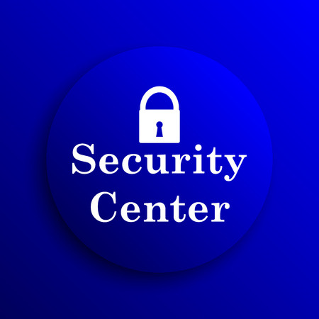 Security center icon. Internet button on blue background.