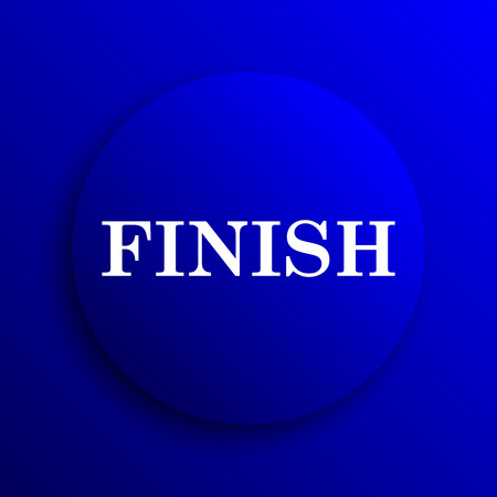 abort: Finish icon. Internet button on blue background. Stock Photo