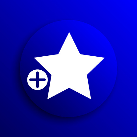 add button: Add to favorites icon. Internet button on blue background. Stock Photo