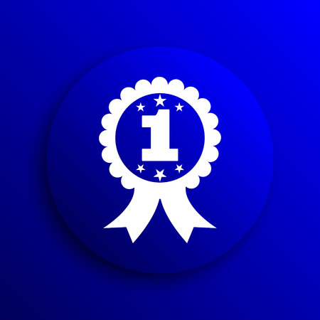 first prize: First prize ribbon icon. Internet button on blue background.