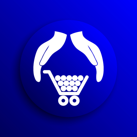 consumer protection: Consumer protection, protecting hands icon. Internet button on blue background.