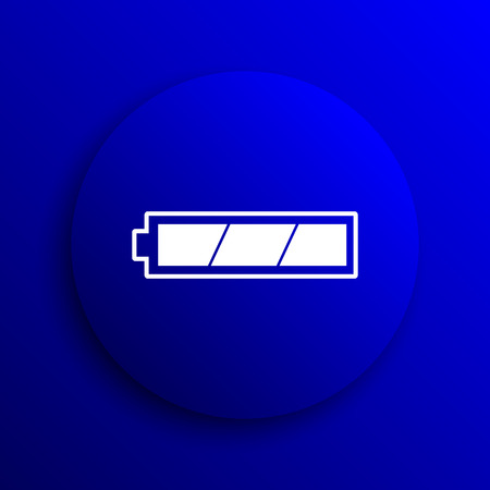 charged: Fully charged battery icon. Internet button on blue background.