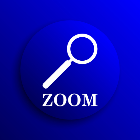loupe: Zoom with loupe icon. Internet button on blue background.