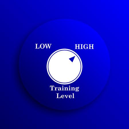 cognicion: icono del nivel de entrenamiento. botón de internet sobre fondo azul. Foto de archivo