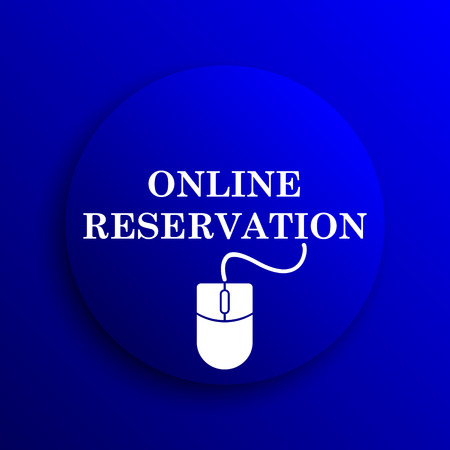 e ticket: Online reservation icon. Internet button on blue background.