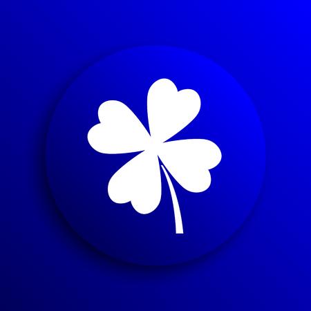 clover button: Clover icon. Internet button on blue background. Stock Photo