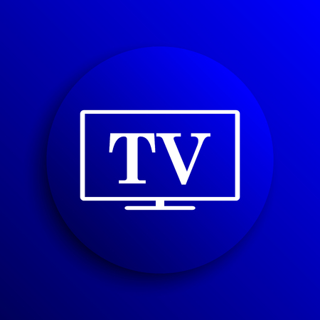 old fashioned tv: TV icon. Internet button on blue background.