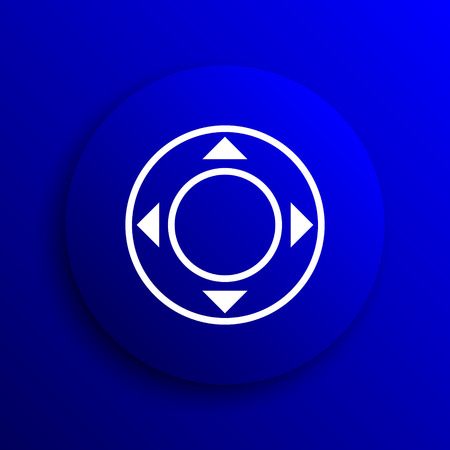 move controller: Joystick icon. Internet button on blue background.