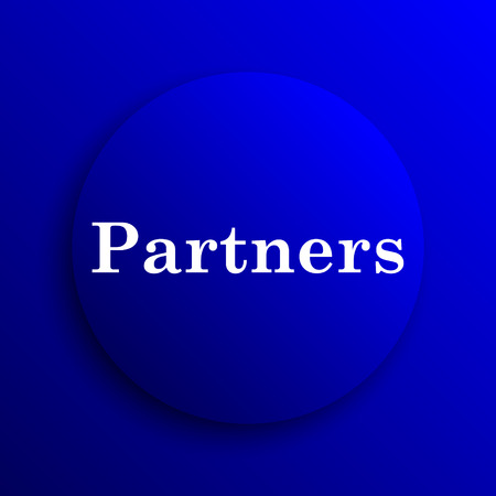 partners: Partners icon. Internet button on blue background. Stock Photo