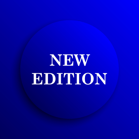 edition: New edition icon. Internet button on blue background. Stock Photo