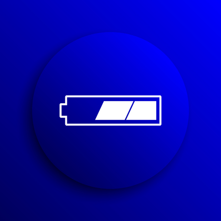 2 thirds charged battery icon. Internet button on blue background. Stock Photo