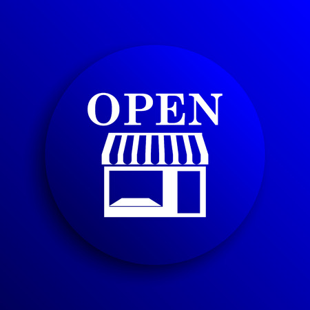 caf: Open store icon. Internet button on blue background.