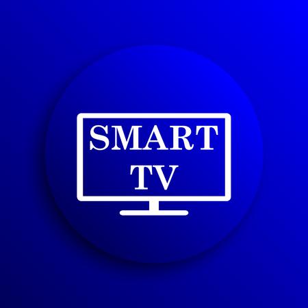 blue widescreen widescreen: Smart tv icon. Internet button on blue background.