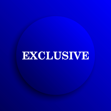 exclusive: Exclusive icon. Internet button on blue background.