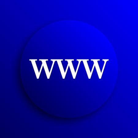 www icon: WWW icon. Internet button on blue background. Stock Photo