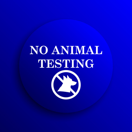 testing: No animal testing icon. Internet button on blue background.