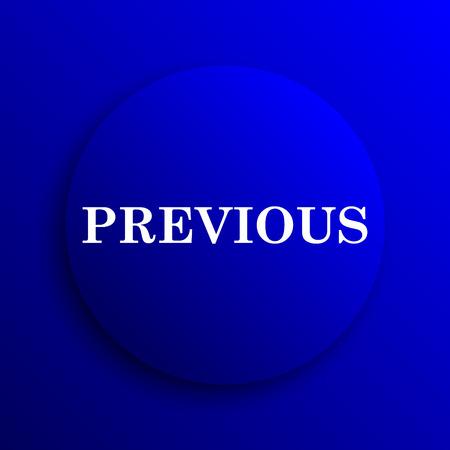 slideshow: Previous icon. Internet button on blue background. Stock Photo