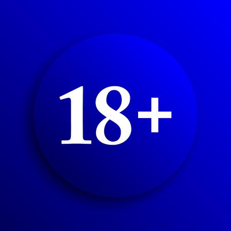 tech no: 18 plus icon. Internet button on blue background.