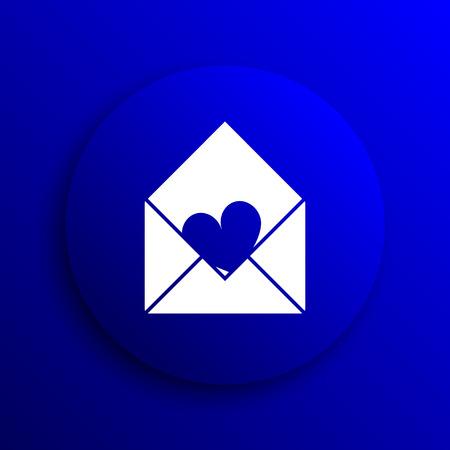 blue send: Send love icon. Internet button on blue background.