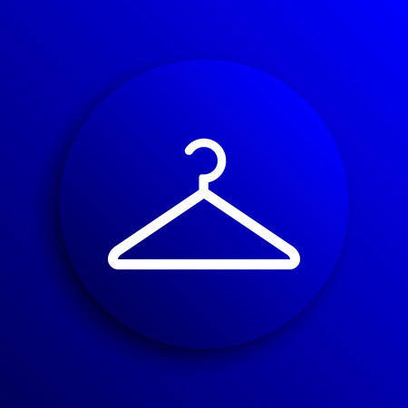 coat rack: Hanger icon. Internet button on blue background.