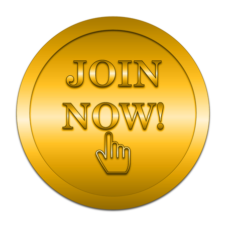 join now: Join now icon. Internet button on white background. Stock Photo