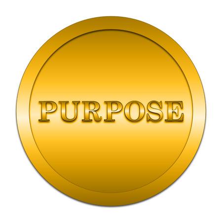 golden symbols: Purpose icon. Internet button on white background. Stock Photo