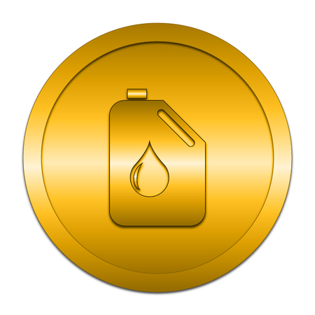 gold cans: Oil can icon. Internet button on white background. Stock Photo