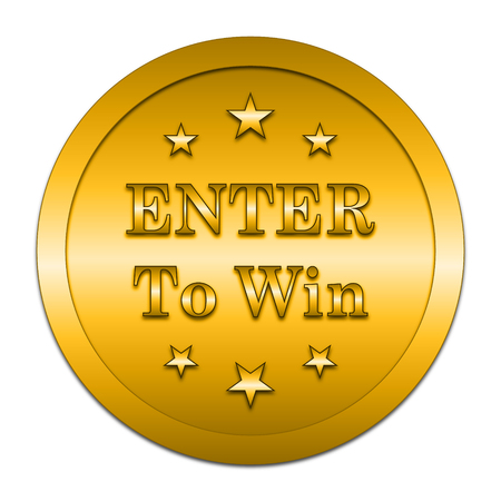 enter: Enter to win icon. Internet button on white background.