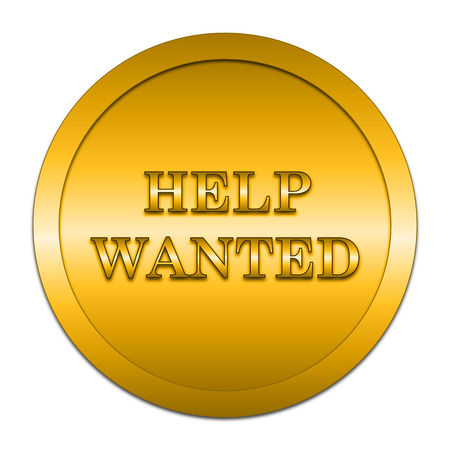 help wanted: Help wanted icon. Internet button on white background.