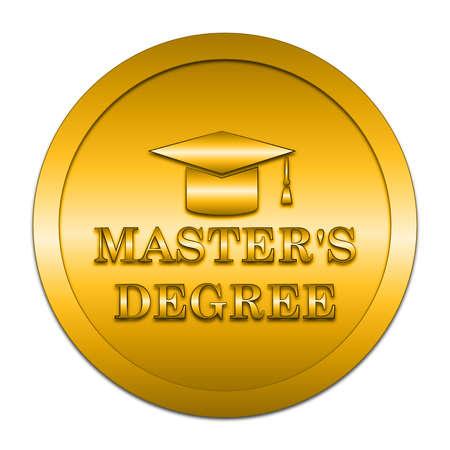 masters: Masters degree icon. Internet button on white background.