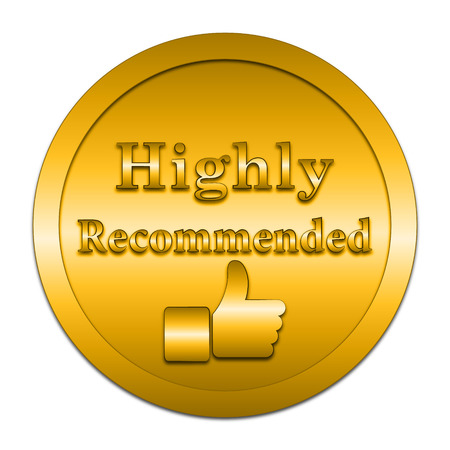 highly: Highly recommended icon. Internet button on white background.