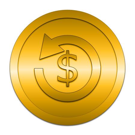 restitution: Refund icon. Internet button on white background.
