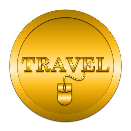 e ticket: Travel icon. Internet button on white background. Stock Photo