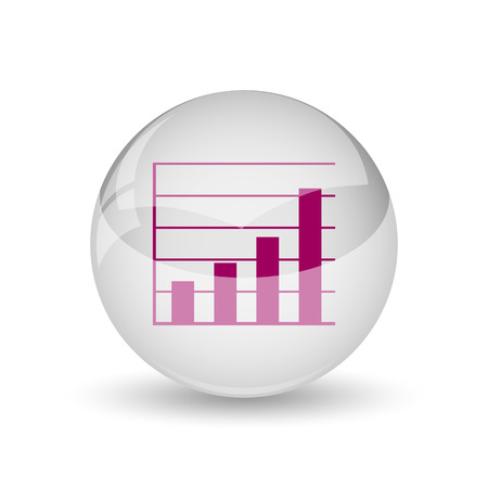 financial reports: Chart bars icon. Internet button on white background.
