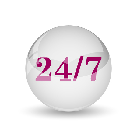 24 7: 24 7 icon. Internet button on white background.