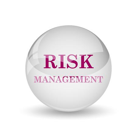 Risk management icon. Internet button on white background.