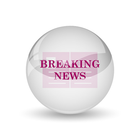newscast: Breaking news icon. Internet button on white background.