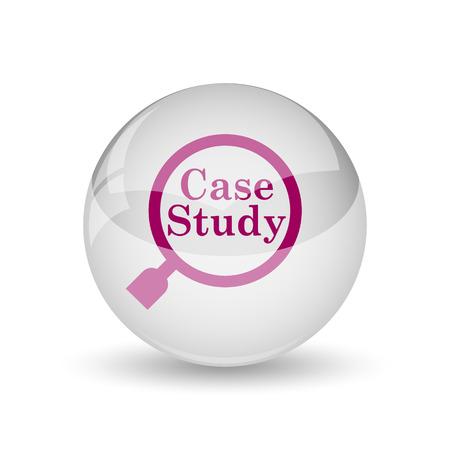 course development: Case study icon. Internet button on white background.