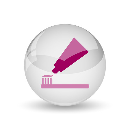 Tooth paste and brush icon. Internet button on white background.