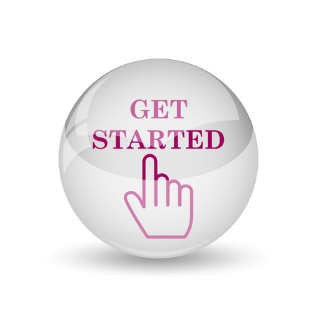 getting started: Get started icon. Internet button on white background.