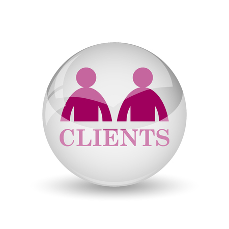 clients: Clients icon. Internet button on white background. Stock Photo