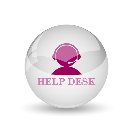 helpdesk: Helpdesk icon. Internet button on white background. Stock Photo