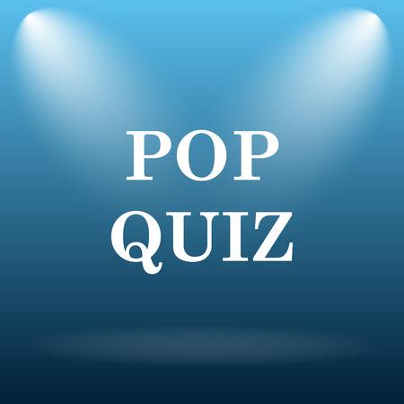 quiz: Pop quiz icon. Internet button on blue background.