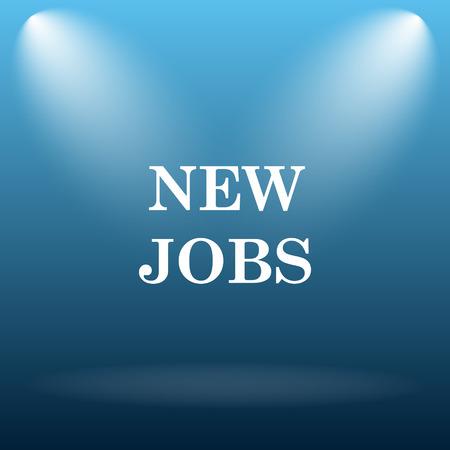 jobs: New jobs icon. Internet button on blue background. Stock Photo