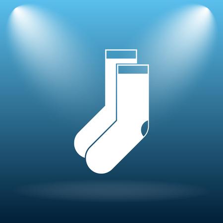 hosiery: Socks icon. Internet button on blue background.