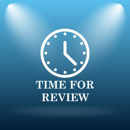 assess: Time for review icon. Internet button on blue background.