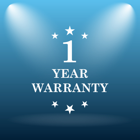 1 year warranty: 1 year warranty icon. Internet button on blue background. Stock Photo