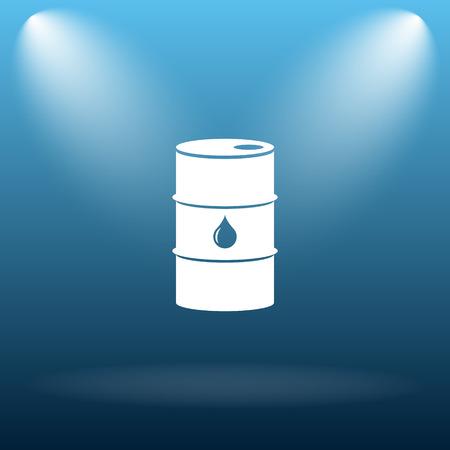 barrell: Oil barrel icon. Internet button on blue background.